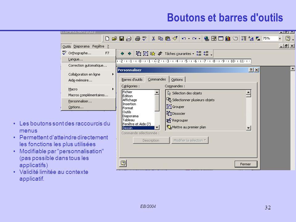 EB/2004 31 Menus contextuels Extraits du menu principal de l'application sur laquelle se trouve le curseur Permet de faire les principales opérations