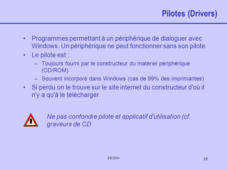 EB/2004 37 Panneau de configuration Permet de configurer certains éléments du système Les plus utiles (contenu non exhaustif mais la plupart de ce sur