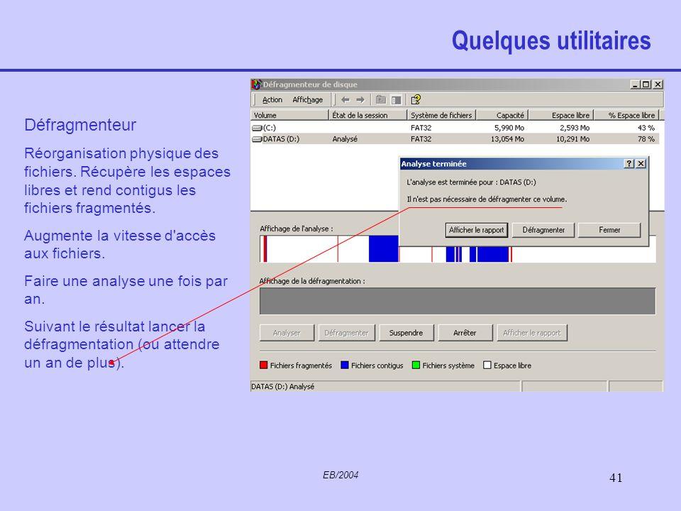 EB/2004 40 Quelques utilitaires Nettoyage de disque –Suppression de fichiers temporaires inutiles créés automatiquement par exemple lors d'accès Inter
