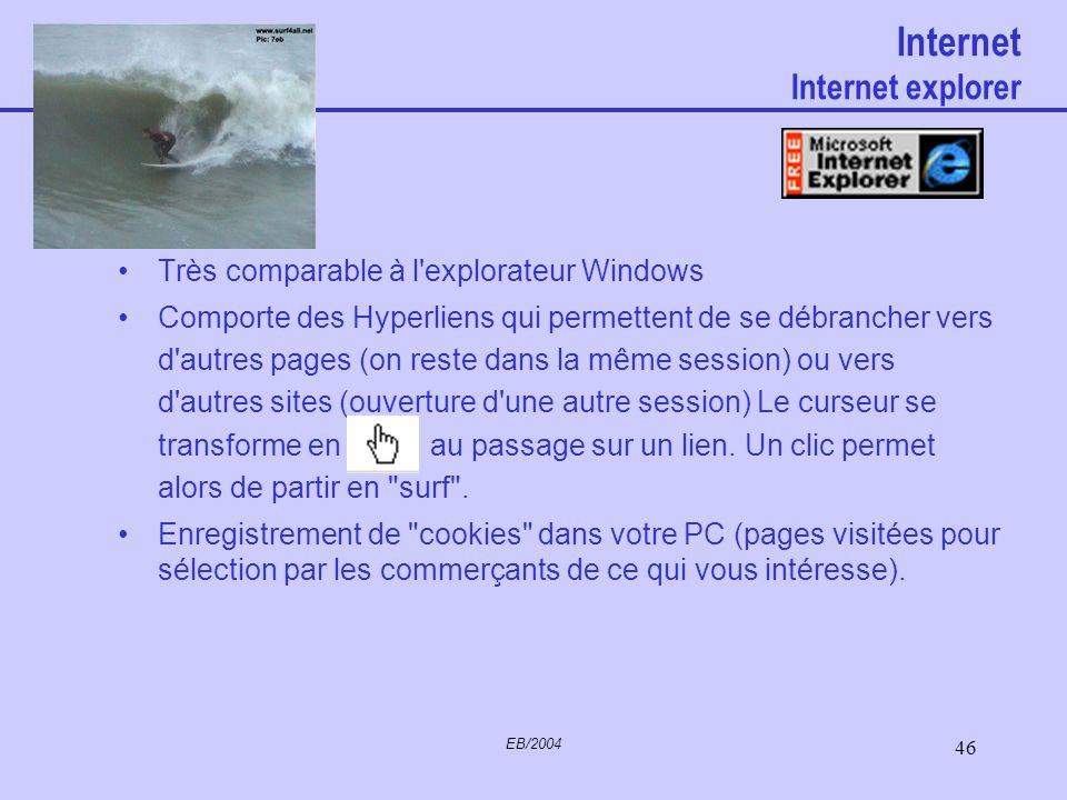 EB/2004 45 Internet Architecture générale Cliquez sur l'un des titres ci-dessous pour accéder à l'article correspondant. Mise en place d'une connexion