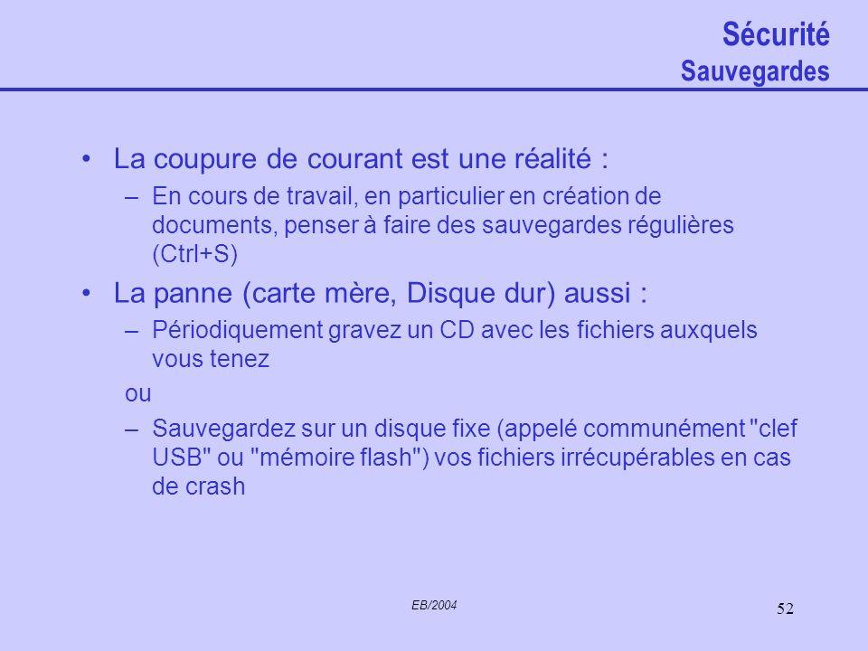 EB/2004 51 Sécurité Une bonne sauvegarde vaut mieux qu'une mauvaise crise de nerfs (Guillaume du Portail)