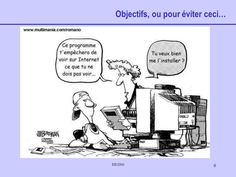 EB/2004 5 Programme de la session Aide Utilitaires Menus Internet Outlook Sécurité Connexions Questions diverses