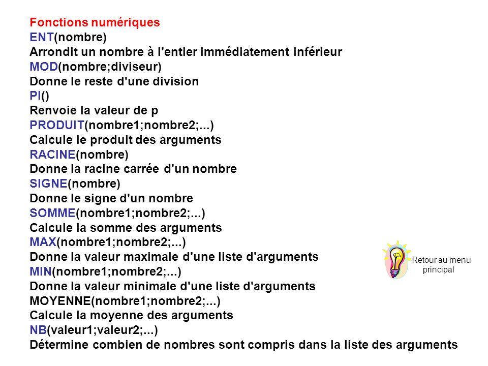 Fonctions numériques ENT(nombre) Arrondit un nombre à l entier immédiatement inférieur MOD(nombre;diviseur) Donne le reste d une division PI() Renvoie la valeur de p PRODUIT(nombre1;nombre2;...) Calcule le produit des arguments RACINE(nombre) Donne la racine carrée d un nombre SIGNE(nombre) Donne le signe d un nombre SOMME(nombre1;nombre2;...) Calcule la somme des arguments MAX(nombre1;nombre2;...) Donne la valeur maximale d une liste d arguments MIN(nombre1;nombre2;...) Donne la valeur minimale d une liste d arguments MOYENNE(nombre1;nombre2;...) Calcule la moyenne des arguments NB(valeur1;valeur2;...) Détermine combien de nombres sont compris dans la liste des arguments Retour au menu principal