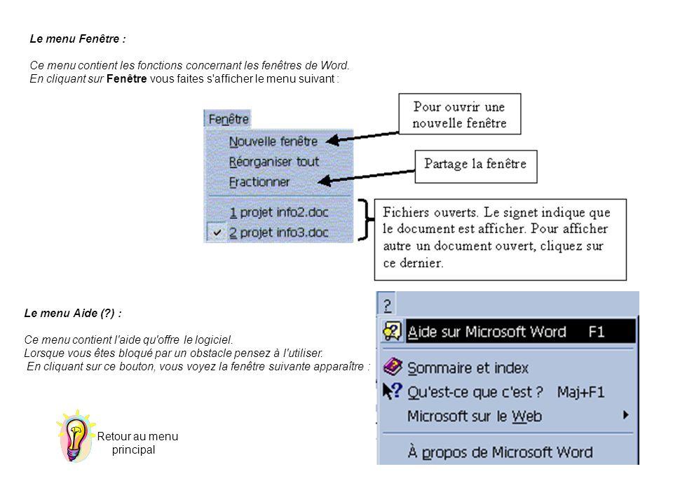 Le menu Fenêtre : Ce menu contient les fonctions concernant les fenêtres de Word. En cliquant sur Fenêtre vous faites s'afficher le menu suivant : Le