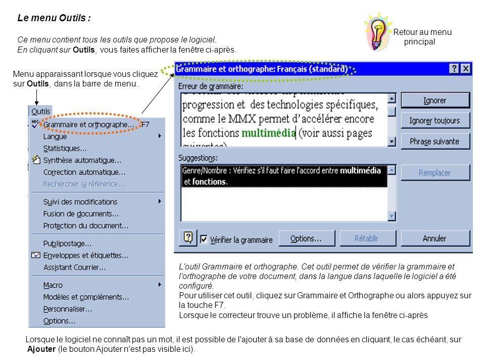 Le menu Outils : Ce menu contient tous les outils que propose le logiciel. En cliquant sur Outils, vous faites afficher la fenêtre ci-après. Menu appa