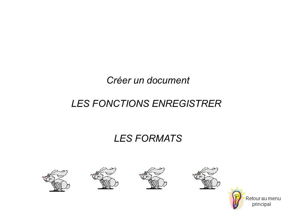 Créer un document LES FONCTIONS ENREGISTRER LES FORMATS Retour au menu principal