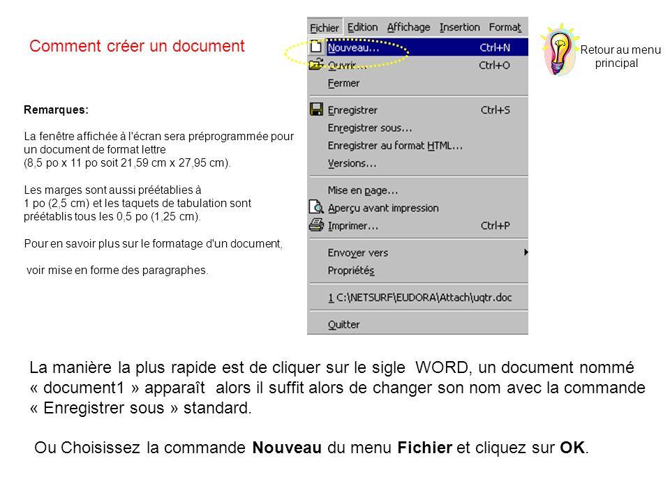 Comment créer un document La manière la plus rapide est de cliquer sur le sigle WORD, un document nommé « document1 » apparaît alors il suffit alors de changer son nom avec la commande « Enregistrer sous » standard.