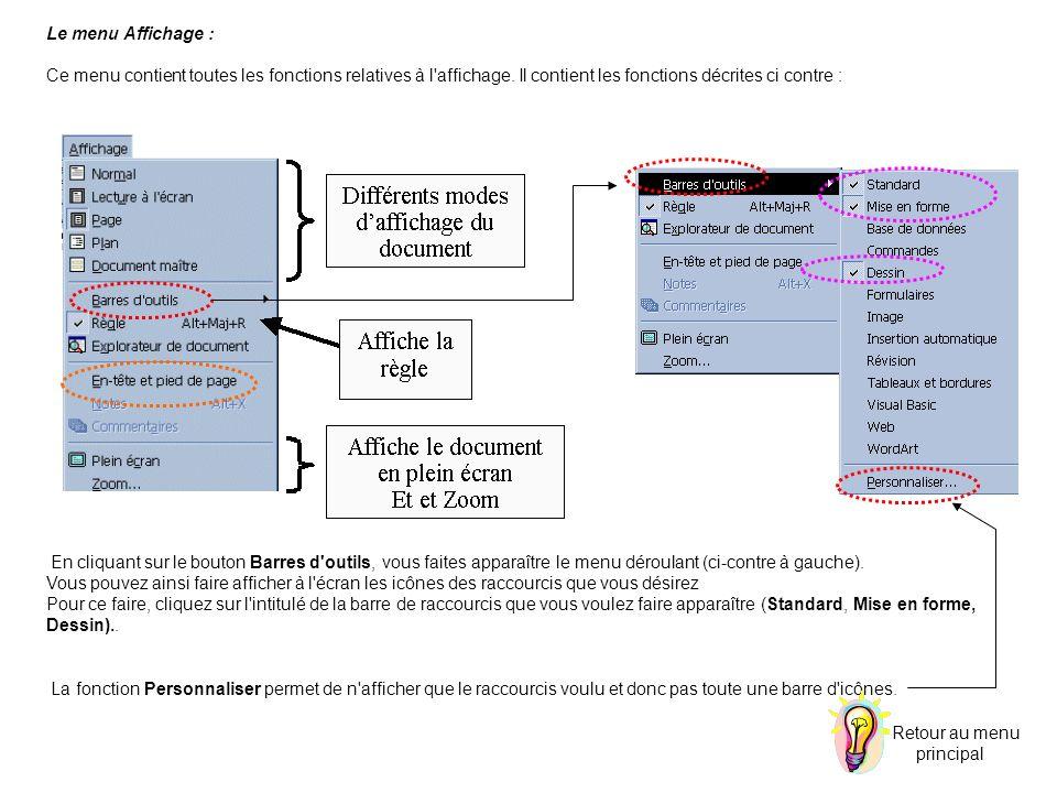 Le menu Affichage : Ce menu contient toutes les fonctions relatives à l'affichage. Il contient les fonctions décrites ci contre : En cliquant sur le b