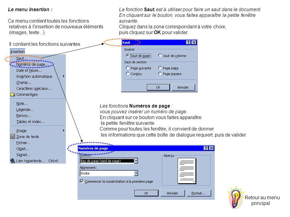 Le menu Insertion : Ce menu contient toutes les fonctions relatives à l'insertion de nouveaux éléments (images, texte...). Il contient les fonctions s