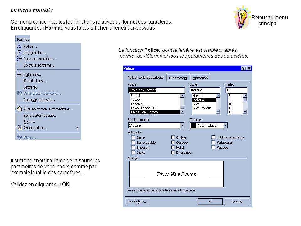 Le menu Format : Ce menu contient toutes les fonctions relatives au format des caractères. En cliquant sur Format, vous faites afficher la fenêtre ci-