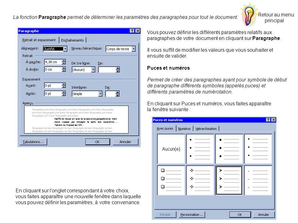 La fonction Paragraphe permet de déterminer les paramètres des paragraphes pour tout le document. Vous pouvez définir les différents paramètres relati