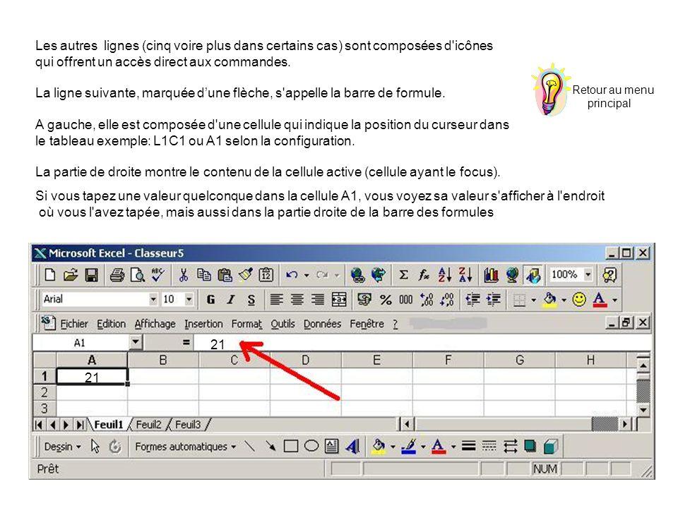 Les autres lignes (cinq voire plus dans certains cas) sont composées d'icônes qui offrent un accès direct aux commandes. La ligne suivante, marquée du
