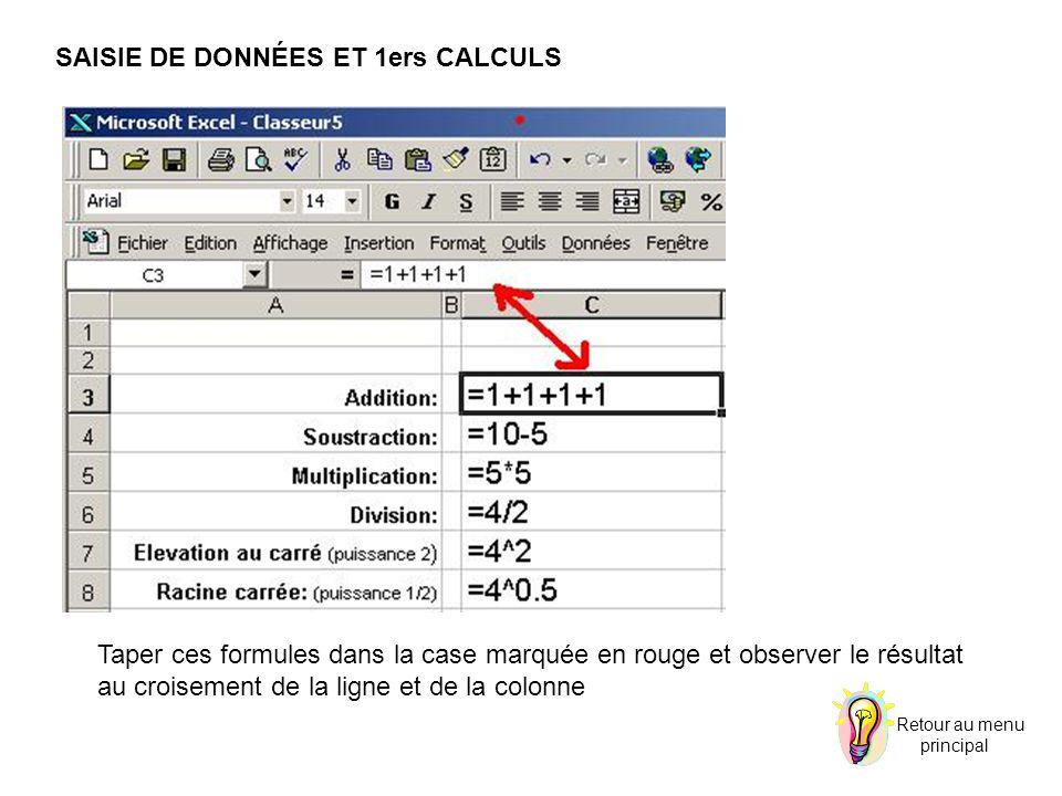 SAISIE DE DONNÉES ET 1ers CALCULS Taper ces formules dans la case marquée en rouge et observer le résultat au croisement de la ligne et de la colonne