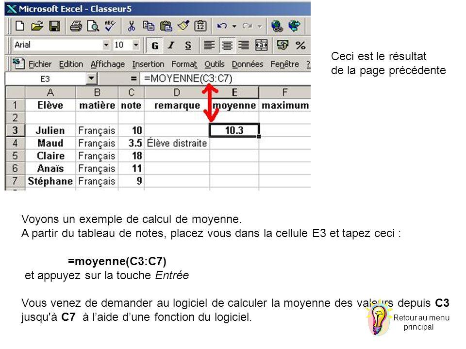 Voyons un exemple de calcul de moyenne. A partir du tableau de notes, placez vous dans la cellule E3 et tapez ceci : =moyenne(C3:C7) et appuyez sur la