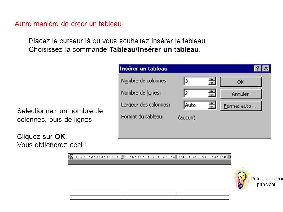 Autre manière de créer un tableau Placez le curseur là où vous souhaitez insérer le tableau. Choisissez la commande Tableau/Insérer un tableau. Sélect