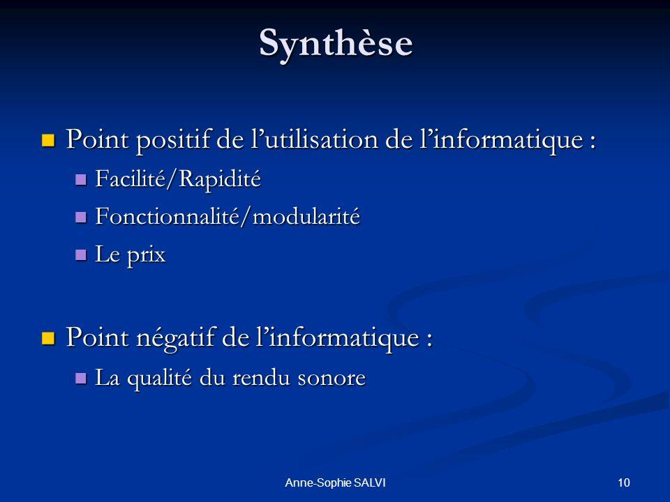 10Anne-Sophie SALVISynthèse Point positif de lutilisation de linformatique : Facilité/Rapidité Fonctionnalité/modularité Le prix Point négatif de linf