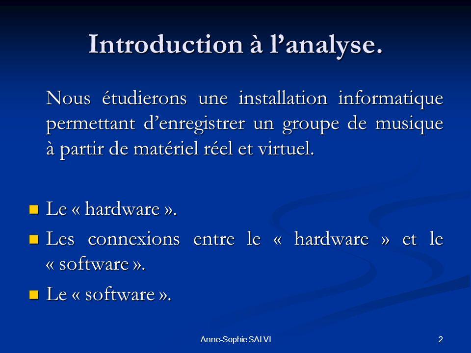 2Anne-Sophie SALVI Introduction à lanalyse. Nous étudierons une installation informatique permettant denregistrer un groupe de musique à partir de mat