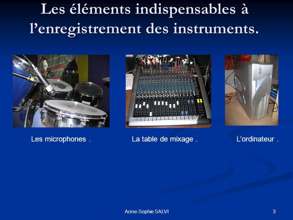 3Anne-Sophie SALVI Les éléments indispensables à lenregistrement des instruments. Les microphones.La table de mixage.Lordinateur.