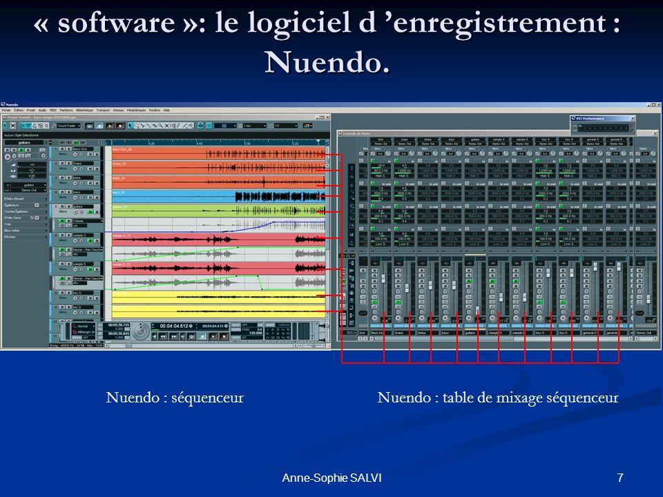 7Anne-Sophie SALVI « software »: le logiciel d enregistrement : Nuendo. Nuendo : séquenceurNuendo : table de mixage séquenceur