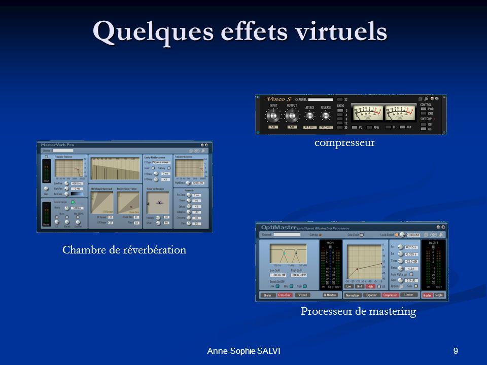 9Anne-Sophie SALVI Quelques effets virtuels Chambre de réverbération compresseur Processeur de mastering