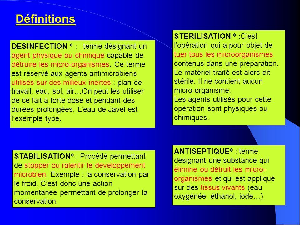 Définitions DESINFECTION * : terme désignant un agent physique ou chimique capable de détruire les micro-organismes. Ce terme est réservé aux agents a