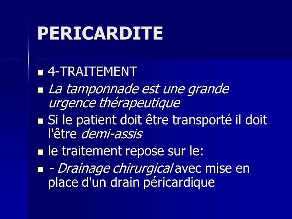 PERICARDITE 4-TRAITEMENT 4-TRAITEMENT La tamponnade est une grande urgence thérapeutique La tamponnade est une grande urgence thérapeutique Si le pati