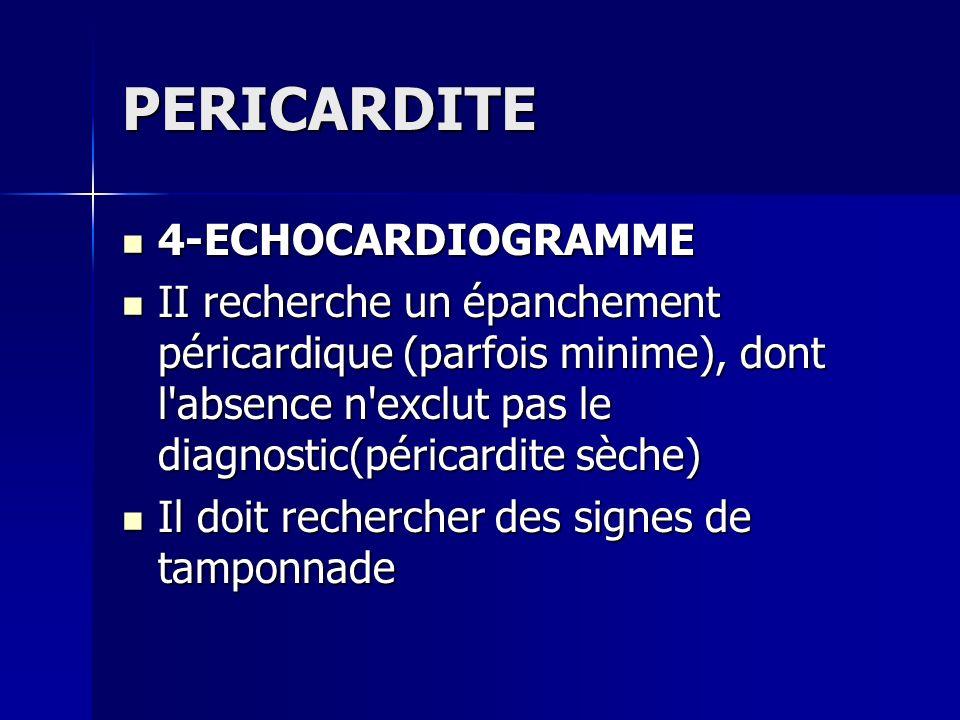 PERICARDITE 4-ECHOCARDIOGRAMME 4-ECHOCARDIOGRAMME II recherche un épanchement péricardique (parfois minime), dont l'absence n'exclut pas le diagnostic