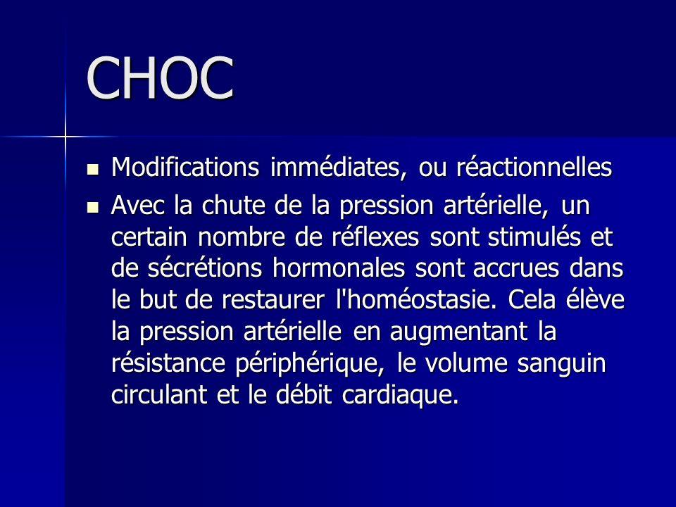 CHOC Modifications immédiates, ou réactionnelles Modifications immédiates, ou réactionnelles Avec la chute de la pression artérielle, un certain nombr