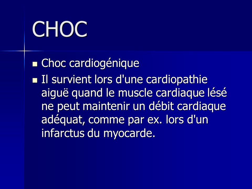 CHOC Choc cardiogénique Choc cardiogénique Il survient lors d'une cardiopathie aiguë quand le muscle cardiaque lésé ne peut maintenir un débit cardiaq