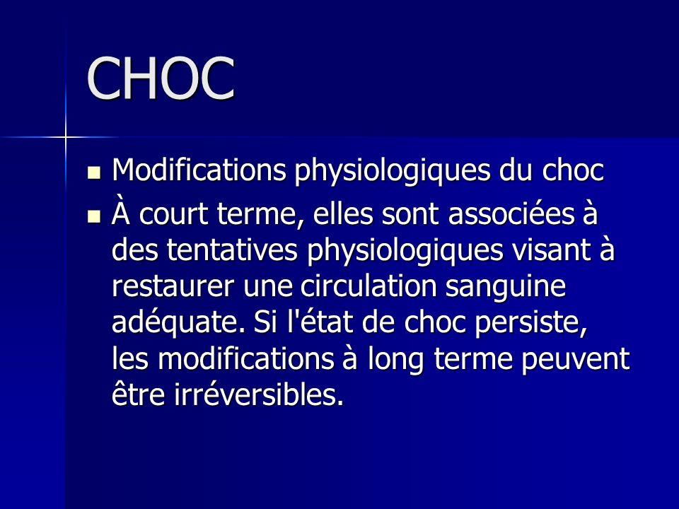 CHOC Modifications physiologiques du choc Modifications physiologiques du choc À court terme, elles sont associées à des tentatives physiologiques vis
