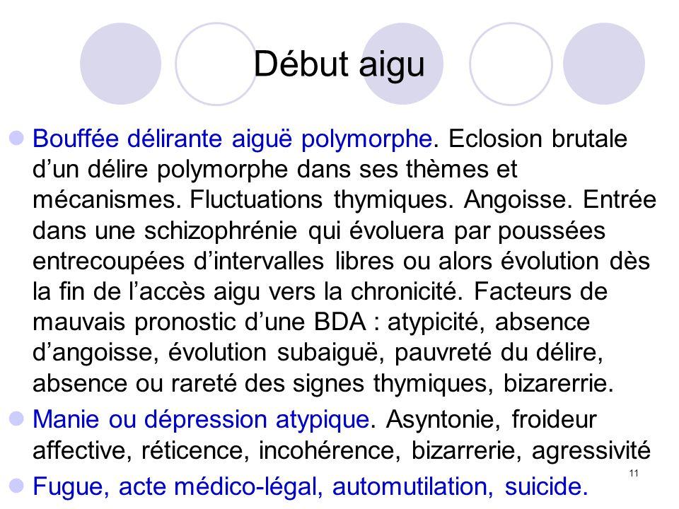 11 Début aigu Bouffée délirante aiguë polymorphe. Eclosion brutale dun délire polymorphe dans ses thèmes et mécanismes. Fluctuations thymiques. Angois