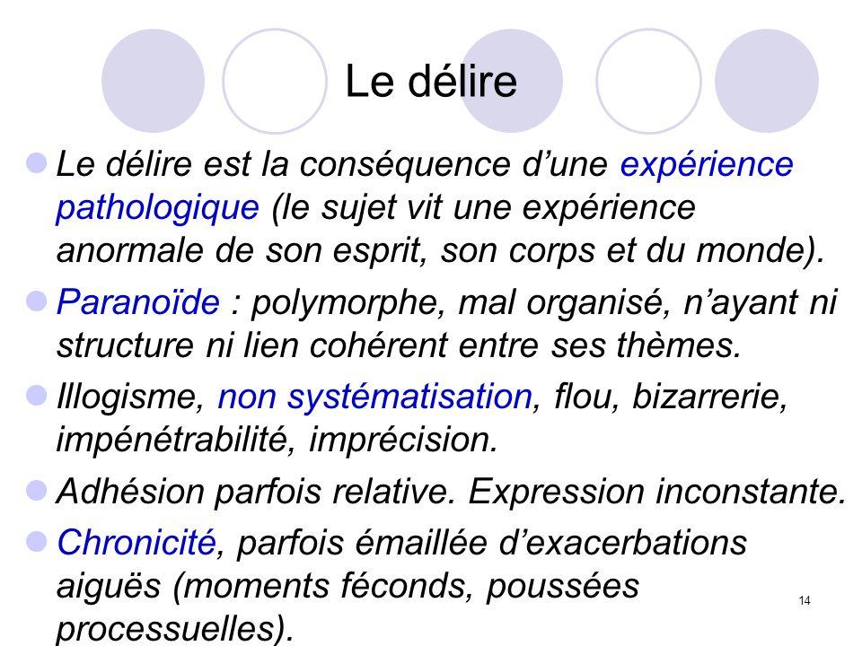 14 Le délire Le délire est la conséquence dune expérience pathologique (le sujet vit une expérience anormale de son esprit, son corps et du monde). Pa