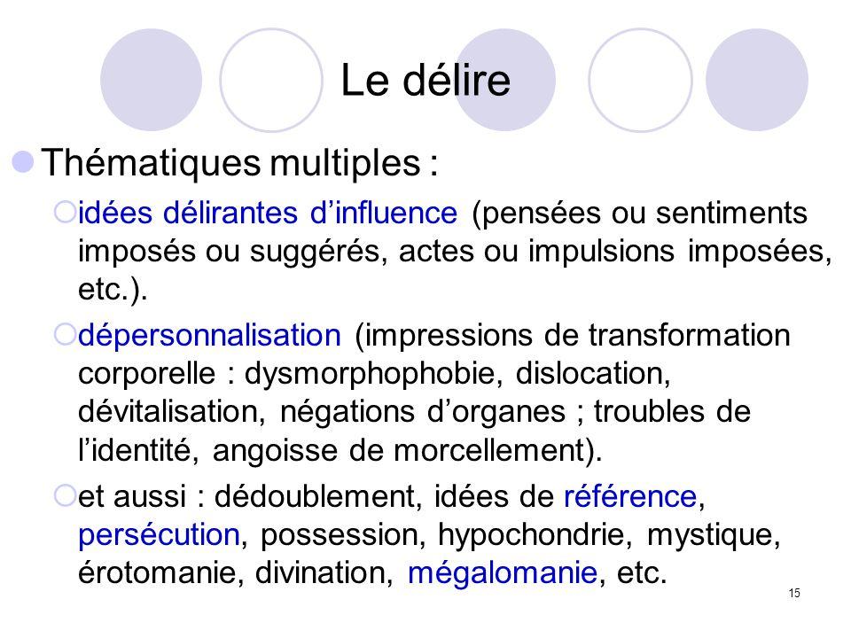 15 Le délire Thématiques multiples : idées délirantes dinfluence (pensées ou sentiments imposés ou suggérés, actes ou impulsions imposées, etc.). dépe