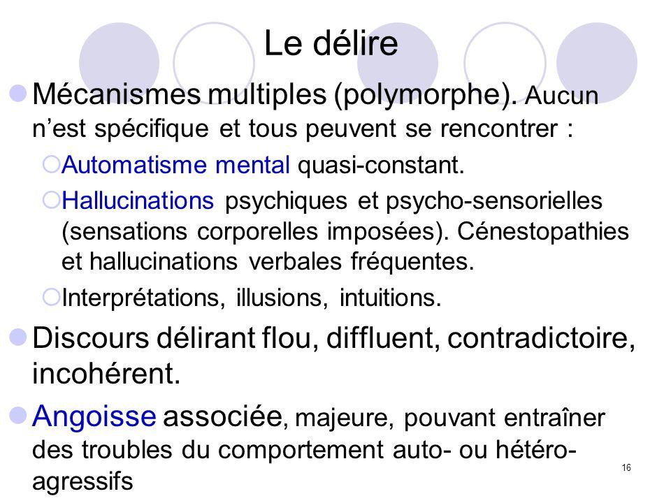 16 Le délire Mécanismes multiples (polymorphe). Aucun nest spécifique et tous peuvent se rencontrer : Automatisme mental quasi-constant. Hallucination
