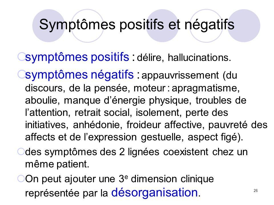 26 Symptômes positifs et négatifs symptômes positifs : délire, hallucinations. symptômes négatifs : appauvrissement (du discours, de la pensée, moteur