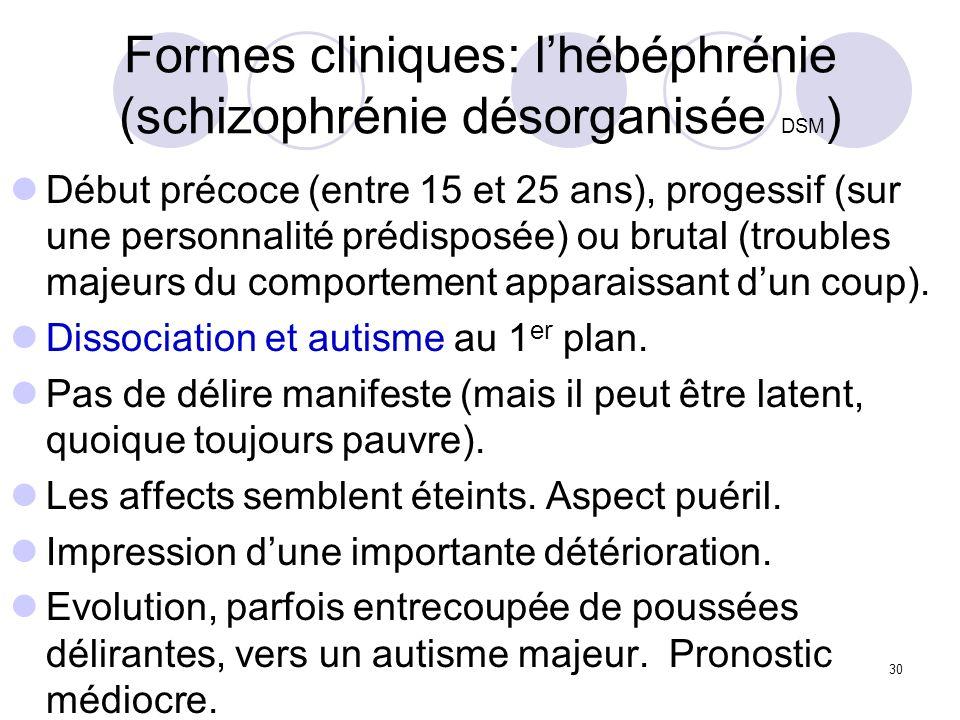 30 Formes cliniques: lhébéphrénie (schizophrénie désorganisée DSM ) Début précoce (entre 15 et 25 ans), progessif (sur une personnalité prédisposée) o