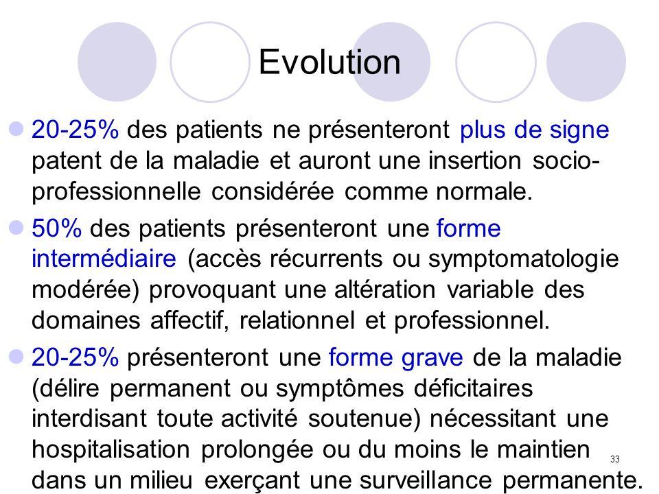 33 Evolution 20-25% des patients ne présenteront plus de signe patent de la maladie et auront une insertion socio- professionnelle considérée comme no