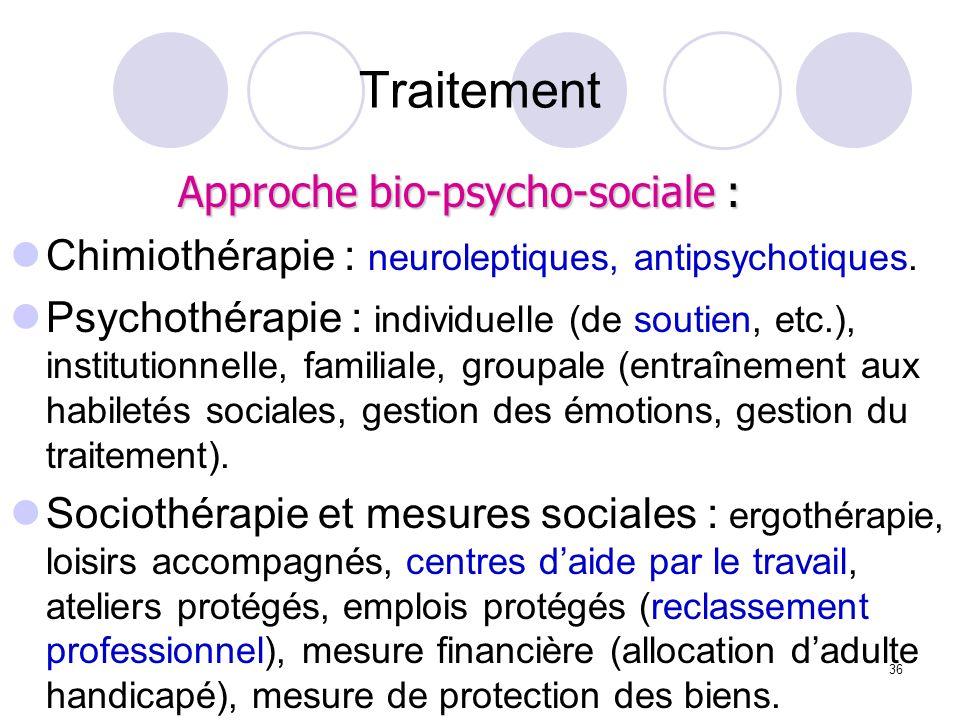 36 Traitement Chimiothérapie : neuroleptiques, antipsychotiques. Psychothérapie : individuelle (de soutien, etc.), institutionnelle, familiale, groupa