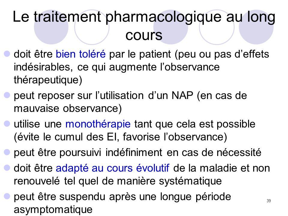 39 Le traitement pharmacologique au long cours doit être bien toléré par le patient (peu ou pas deffets indésirables, ce qui augmente lobservance thér