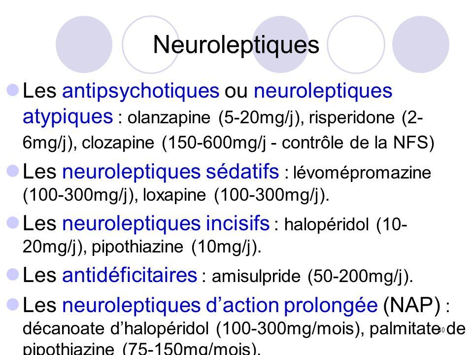 40 Neuroleptiques Les antipsychotiques ou neuroleptiques atypiques : olanzapine (5-20mg/j), risperidone (2- 6mg/j), clozapine (150-600mg/j - contrôle