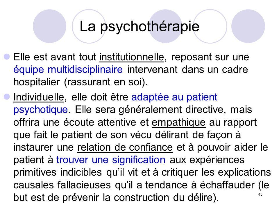 45 La psychothérapie Elle est avant tout institutionnelle, reposant sur une équipe multidisciplinaire intervenant dans un cadre hospitalier (rassurant