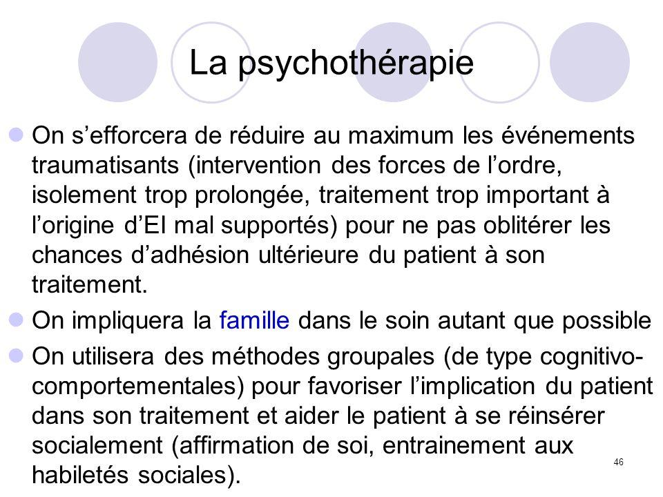 46 La psychothérapie On sefforcera de réduire au maximum les événements traumatisants (intervention des forces de lordre, isolement trop prolongée, tr