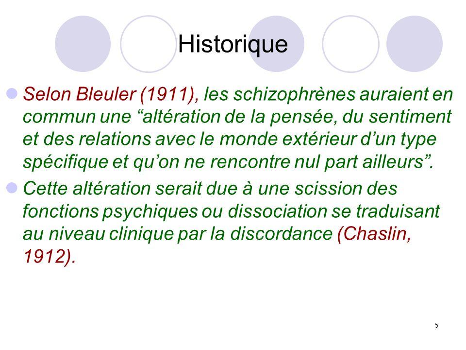 5 Historique Selon Bleuler (1911), les schizophrènes auraient en commun une altération de la pensée, du sentiment et des relations avec le monde extér