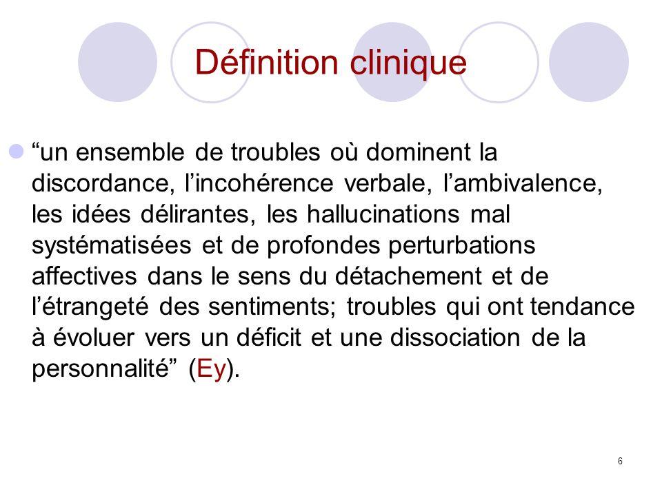 6 Définition clinique un ensemble de troubles où dominent la discordance, lincohérence verbale, lambivalence, les idées délirantes, les hallucinations
