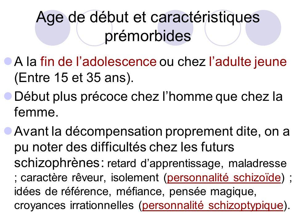 9 Age de début et caractéristiques prémorbides A la fin de ladolescence ou chez ladulte jeune (Entre 15 et 35 ans). Début plus précoce chez lhomme que
