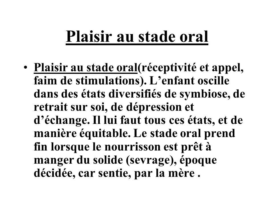 Plaisir au stade oral Plaisir au stade oral(réceptivité et appel, faim de stimulations). Lenfant oscille dans des états diversifiés de symbiose, de re