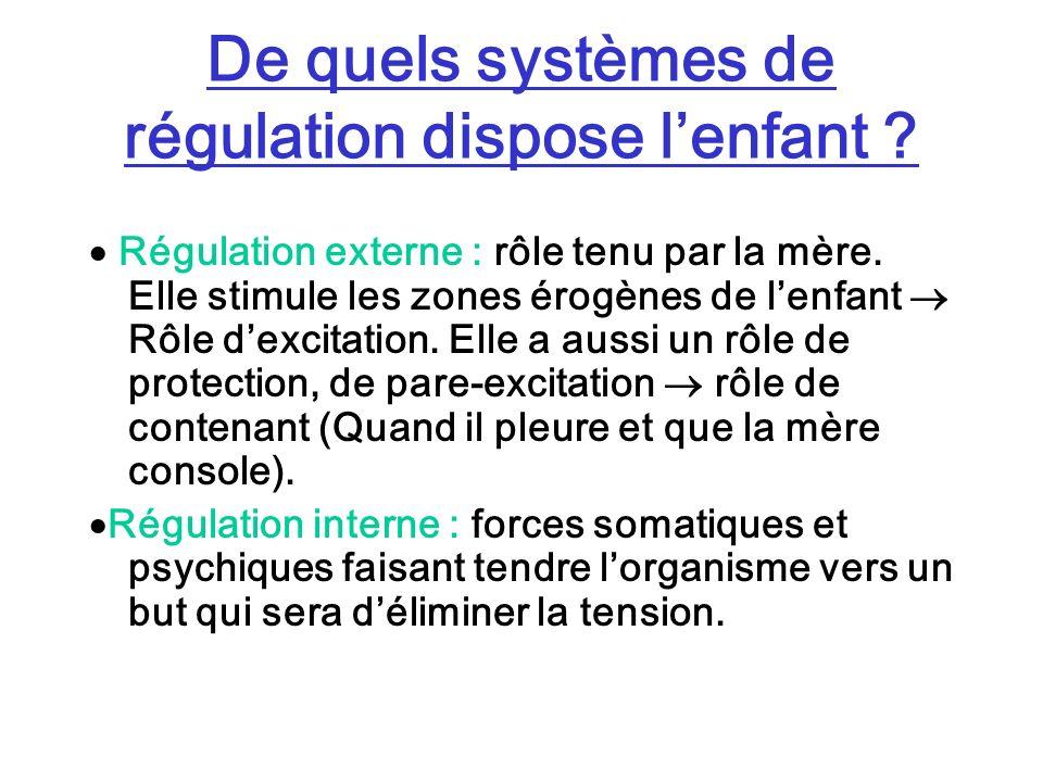 De quels systèmes de régulation dispose lenfant ? Régulation externe : rôle tenu par la mère. Elle stimule les zones érogènes de lenfant Rôle dexcitat