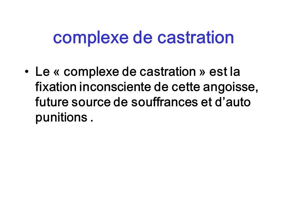 complexe de castration Le « complexe de castration » est la fixation inconsciente de cette angoisse, future source de souffrances et dauto punitions.