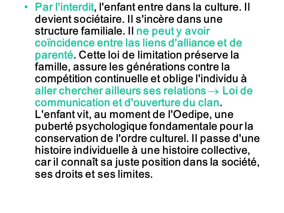 Par l'interdit, l'enfant entre dans la culture. Il devient sociétaire. Il s'incère dans une structure familiale. Il ne peut y avoir coïncidence entre