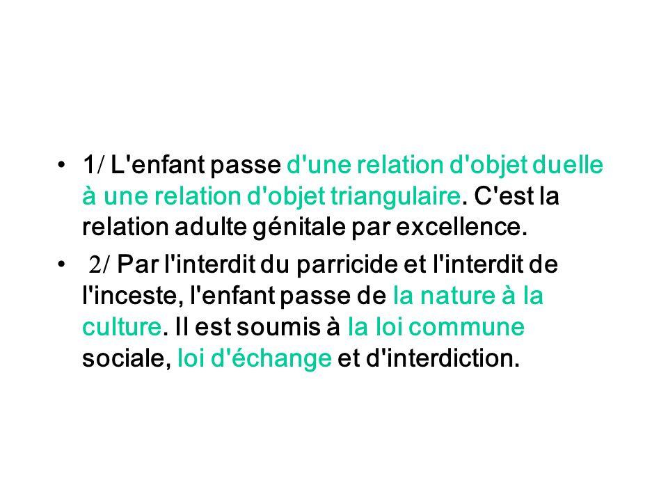1 L'enfant passe d'une relation d'objet duelle à une relation d'objet triangulaire. C'est la relation adulte génitale par excellence. / Par l'interdit
